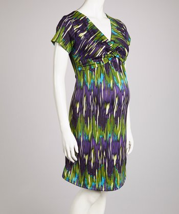 Purple Blur Knot-Front Maternity Dress