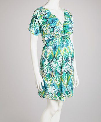Blue Floral Knot-Front Maternity Dress