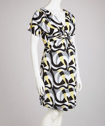 Yellow & Gray Knot-Front Maternity Dress