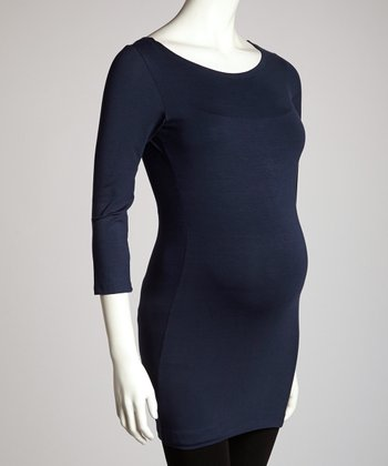 Blue Maternity Long-Sleeve Tunic
