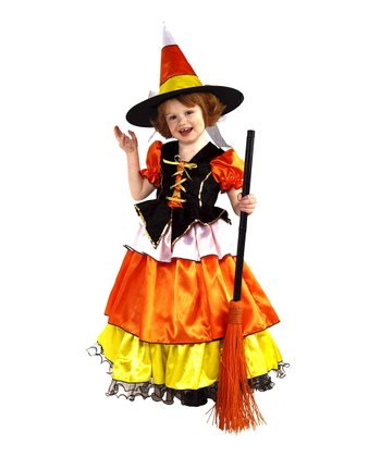 Yellow & Orange Candy Corn Witch Dress-Up Set - Toddler & Girls