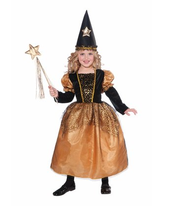 Black & Gold Star Sorceress Dress-Up Outfit - Toddler & Girls