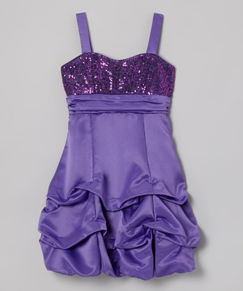 Grape Sequin Pick-Up Dress