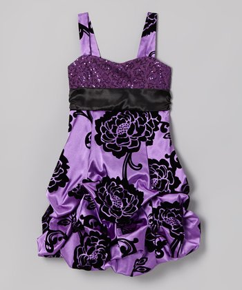Purple Sequin Floral Pick-Up Dress