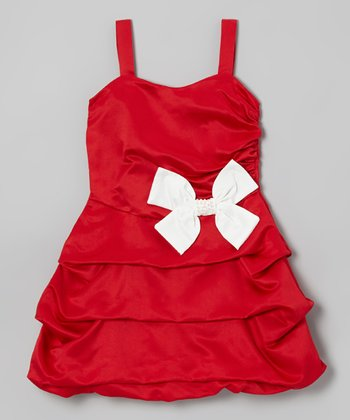Red & White Bow Pick-Up Dress