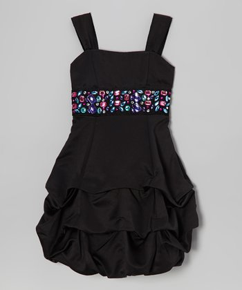 Black Rhinestone Pick-Up Dress