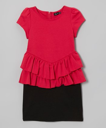 Pink & Black Ruffle Peplum Dress
