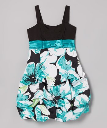 Black & Jade Floral Pick-Up Dress