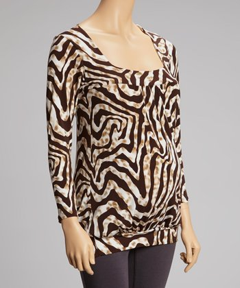 Brown Animal Stripe Square Neck Maternity Top