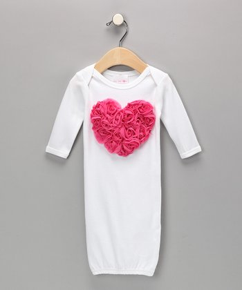 White Blooming Heart Gown - Infant