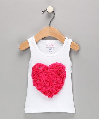 White & Fuchsia Heart Tank - Infant, Toddler & Girls