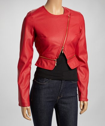 Red Asymmetrical Zipper Jacket