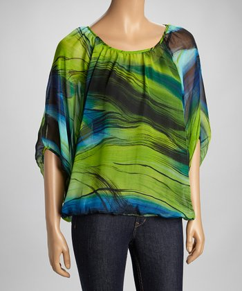 Green Abstract Dolman Top