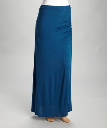 Teal Slit Maxi Skirt