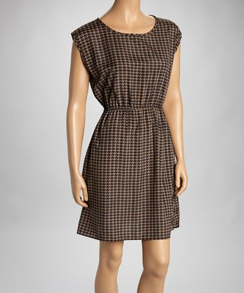 Mocha Houndstooth Dress