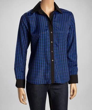Cobalt Houndstooth Button-Up