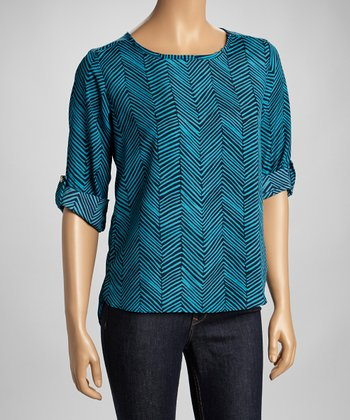 Teal & Navy Zigzag Top