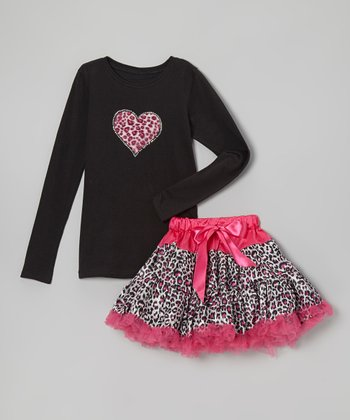 Black Tee & Hot Pink Leopard Pettiskirt - Infant, Toddler & Girls