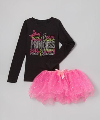 Black 'Princess' Tee & Pink Tutu - Infant, Toddler & Girls