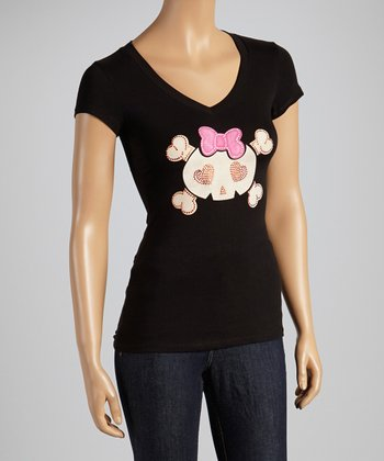 Black Skull Bow V-Neck Tee - Women & Plus