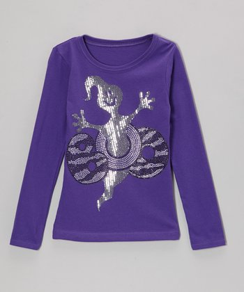 Purple 'Boo' Long-Sleeve Tee - Toddler & Girls