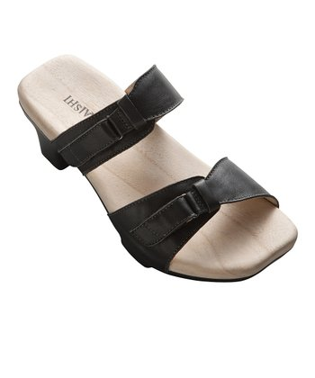 Black Leather Momiji Slide