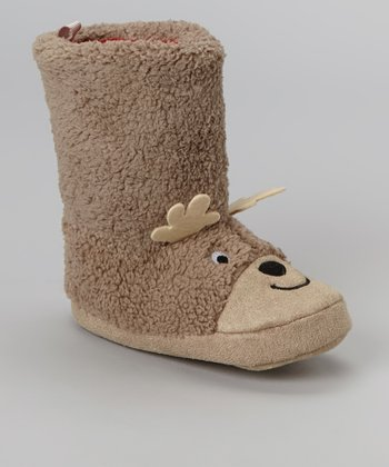 Brown Lu Reindeer Slipper