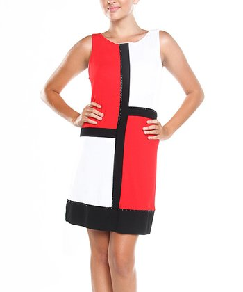 Get Red & White Color Block Shalom Shift Dress