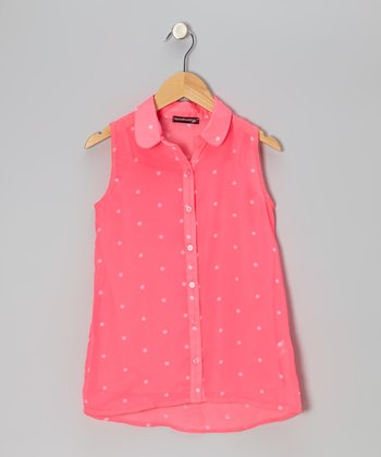 Dazzle Pink & White Polka Dot Sleevless Button-Up - Girls