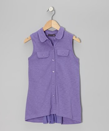 Iris Sleeveless Button-Up - Girls