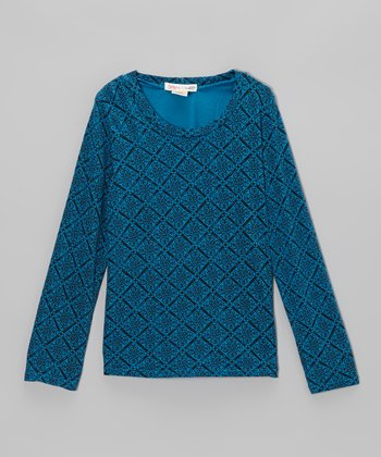 Jewel Blue Piazza Long-Sleeve Tee - Toddler & Girls
