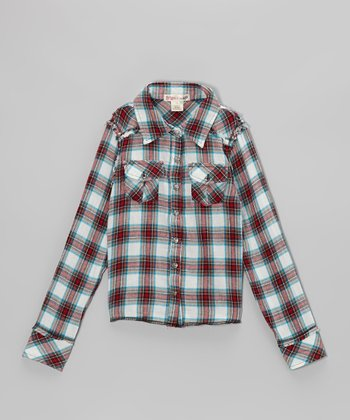 Red Apple Kingston Plaid Boyfriend Button-Up - Toddler & Girls