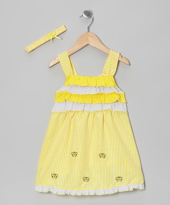Yellow Butterfly Gingham Dress & Headband - Infant & Toddler