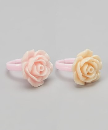 Pink & Champagne Flower Ring Set
