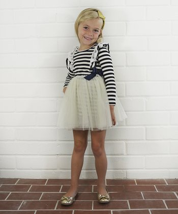 Navy & White Stripe Lace Ruffle Princess Dress - Toddler & Girls
