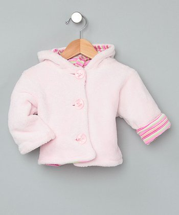 Baby Pink Velour Hooded Button Coat - Infant
