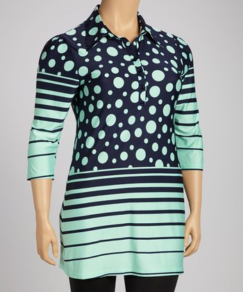 Teal & Navy Polka Dot Stripe Button-Up Tunic - Plus