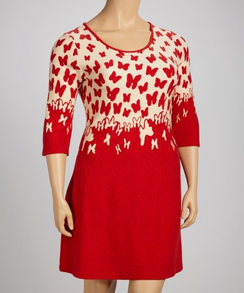 White & Red Butterfly Three-Quarter Sleeve Dress - Plus