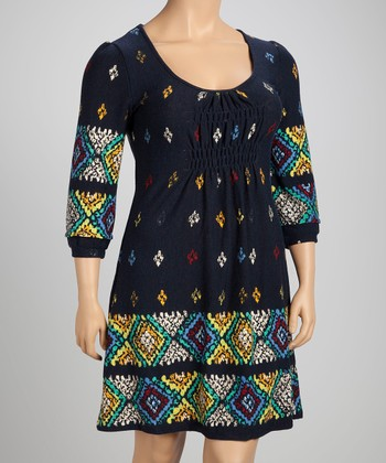 Navy Geometric Shirred Empire-Waist Dress - Plus