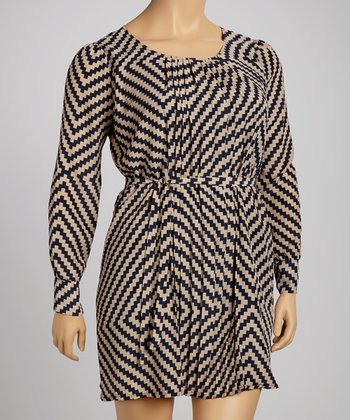 Navy Zigzag Dress - Plus