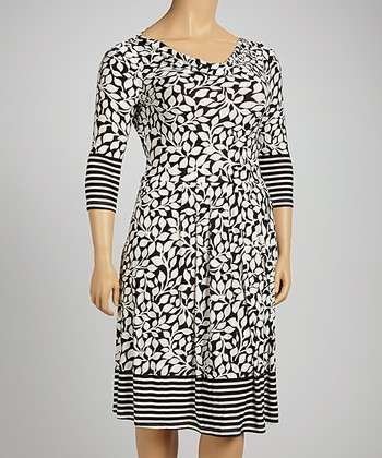 Black & White Leaves Three-Quarter Sleeve Dress - Plus