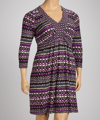 Purple Ikat Empire-Waist Dress - Plus