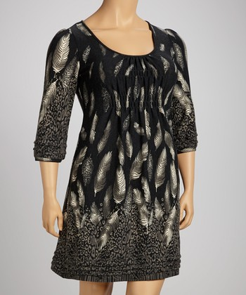 Charcoal Leopard Feather Shirred EmpireWaist Dress
