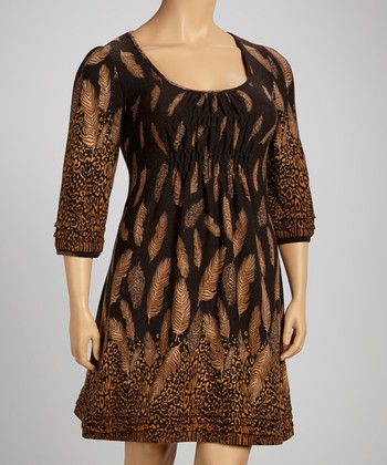 Brown Leopard Feather Shirred Empire-Waist Dress - Plus