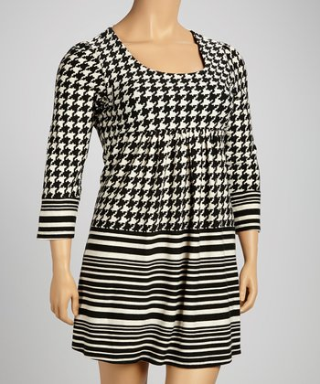 Black & White Houndstooth Square Neck Dress - Plus