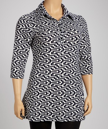 Navy Geometric Zigzag Button-Up Tunic - Plus