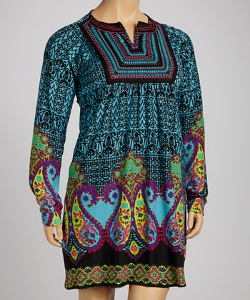 Teal Bold Paisley Long-Sleeve Dress - Plus