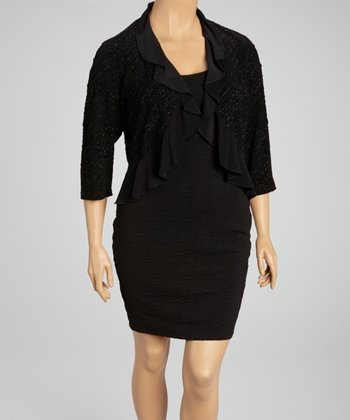 Black Ruffle Bolero - Plus