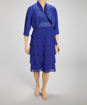 Royal Blue Tiered Dress & Bolero - Plus