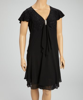 Black Shimmer Knot Detail Dress - Plus